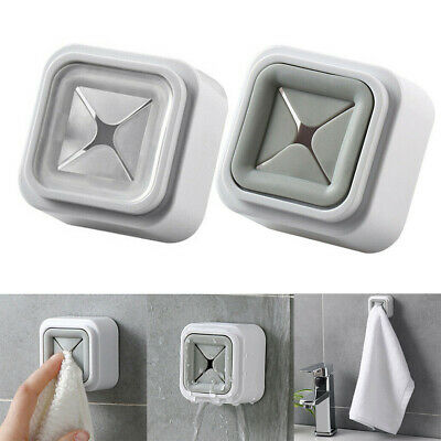 Bath Towel Holder Door Hanging Rail Rack For Kitchen Cupboard No Drilling Silver