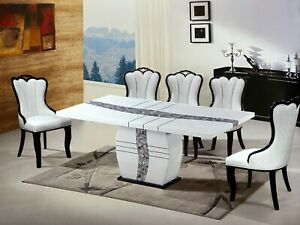 New Elegant White 1 8m Marble Dining Table 4 Chair Modern Contemporary Furniture Ebay
