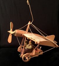 Vtg Unique Wooden Motorized Cloth String Airplane Hanging Art Collectible