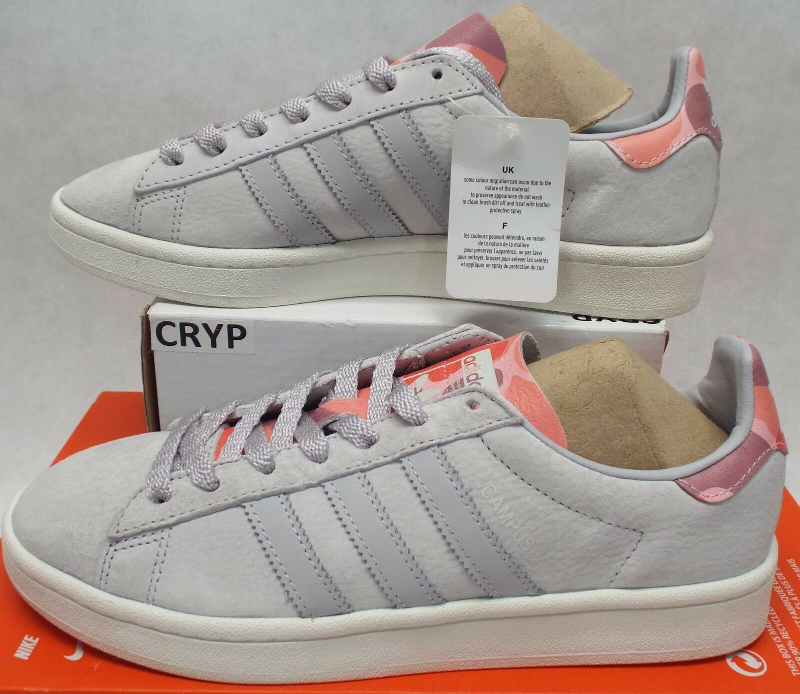 New hommes 9 ADIDAS Campus Suede Leather  Gris  Coral Tennis Shoes $110 BB0078