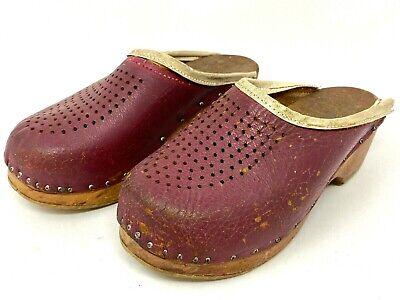 Vintage Sweden Wooden Clogs Shoes