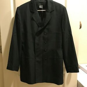 HALSTON Womens 12 Black Silk Blazer Jacket Double Breasted