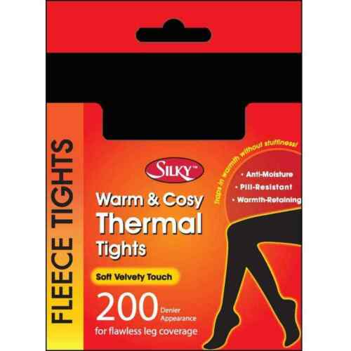 Women/'s Silky Warm /& Cosy Thermal Fleece Tights 200 Denier S//M//L////XL in 5 Colour