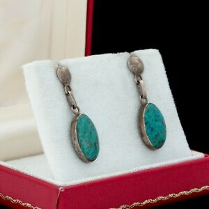 Vintage-Designer-950-Sterling-Silver-Mexican-Taxco-Green-Azurite-Dangle-Earrings
