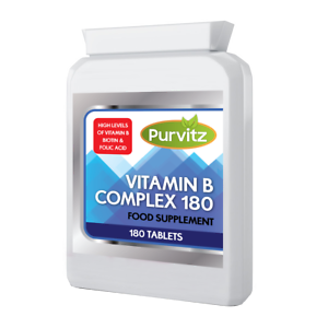 Vitamin-B-Complex-180-Tablets-B1-B2-B3-B5-B6-B12-Biotin-Folic-Acid-Purvitz-UK