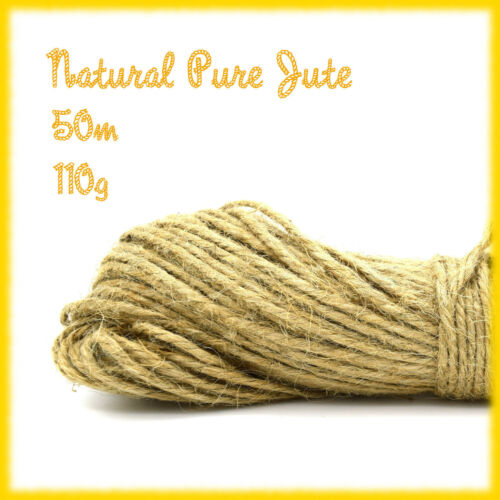 100M (50M X 2 BUNCH) 3 PLY TIDY PURE JUTE TWINE STRING CRAFTS SHABBY CHIC NEW