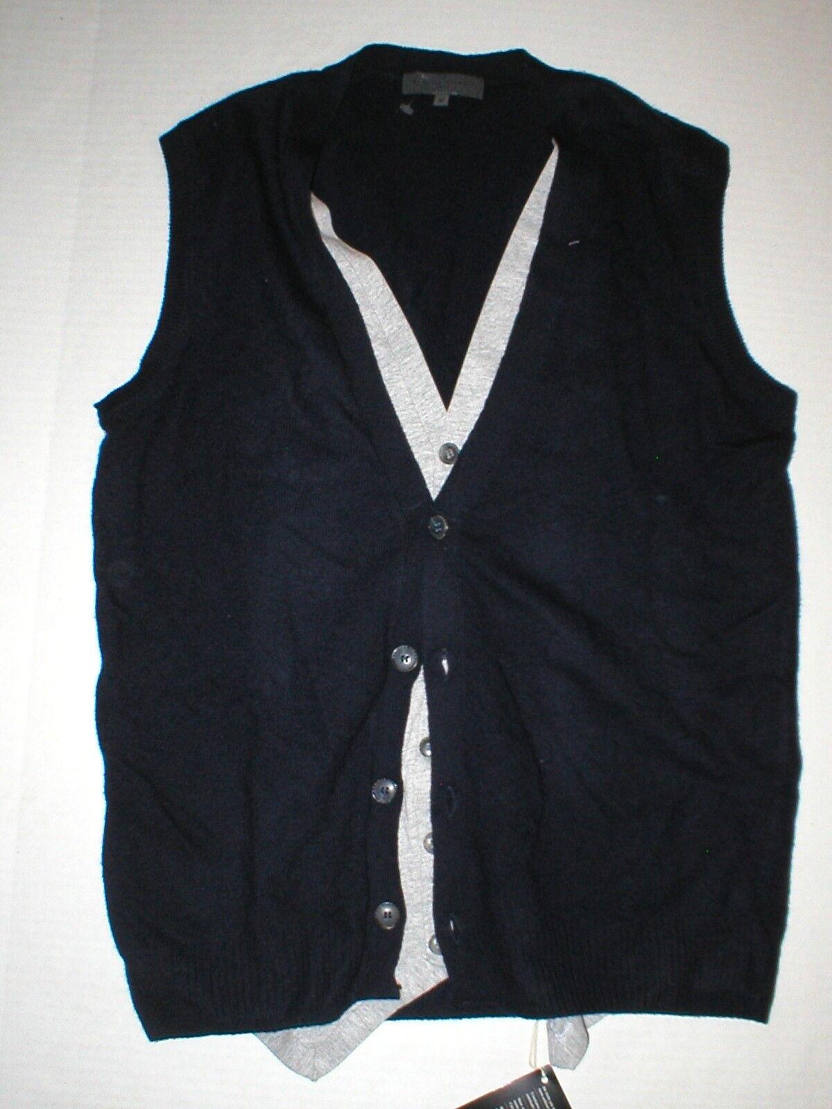 New NWT  Herren  Wool Sleeveless Cardigan Vest Blau grau M Daniele Fiesoli Lay