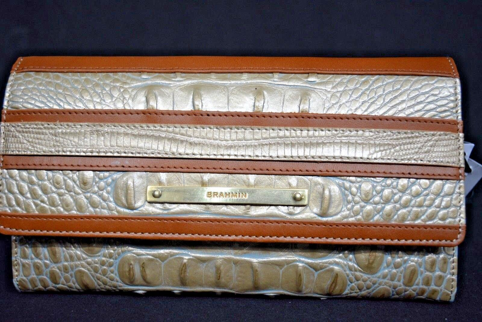 NWT Brahmin Soft Checkbook Tri-fold Wallet in Mojave Vineyard. Neutral Colors