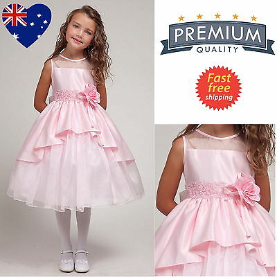 Pink Flower Girl Dress, Elegant Bridal Satin Girl's Party Dress Size 2 to 10