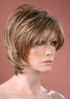 Ladies Pixie Style Neck-Hugging Short Brown and Blonde Fashion Style Wig Hair