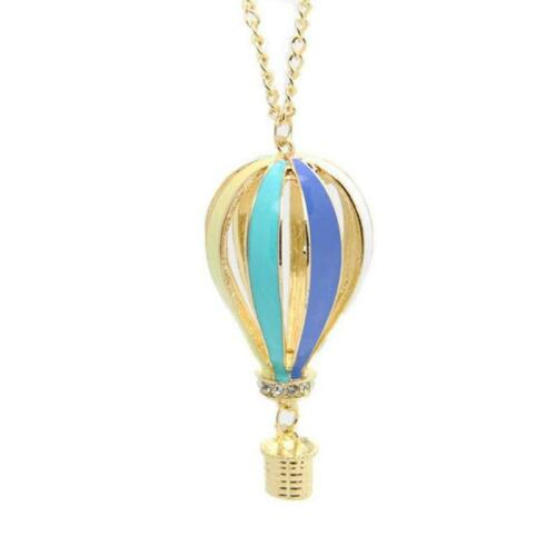 Pastel Shade Very Long Necklace Hot Air Balloon Pendant Gold Plated q