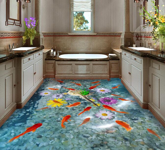 3D Fish Flower Stone 607 Floor WallPaper Murals Wall Print Decal AJ WALLPAPER CA