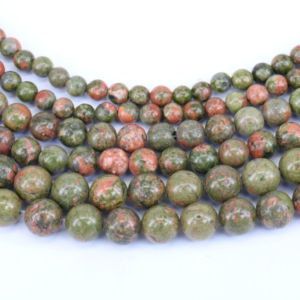 """15/"""" Natural Salmon Moss Unakite Gemstone Round Loose Spacer Beads Finding 4-10mm"""