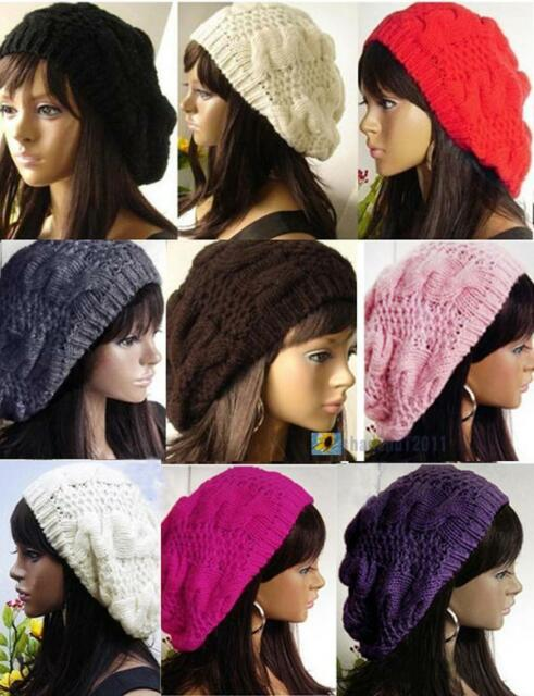 New Fashion 9 Colors Warm Winter Women Beret Braided Baggy Beanie Hat Ski Cap