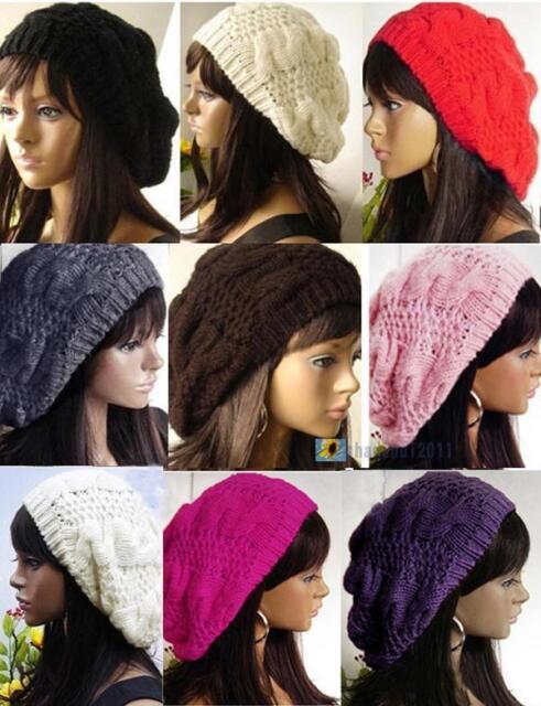 New Fashion 9 Colors Warm Winter Women Beret Braided Baggy Beanie Hat Ski Cap
