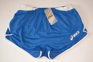 Bnwt Retro Asics Split Side High Cut Blue Running Sprinter Shorts