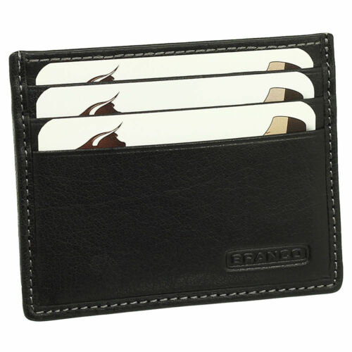 LUSSO carte in pelle ASTUCCIO carte di credito ASTUCCIO extra piatto con aggiunta scomparto branco 16739