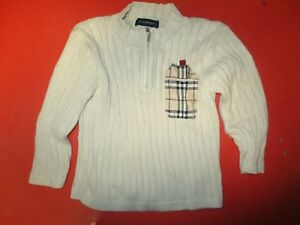 Pull-col-zip-BURBERRY-beige-bebe-taille-2-ans-coton