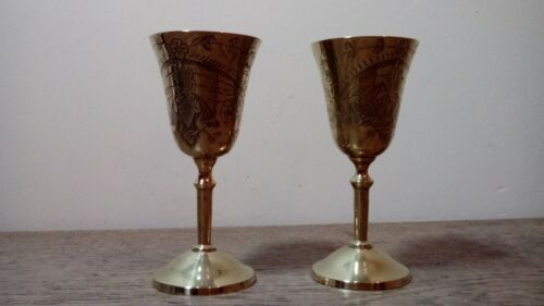 Two Vintage Engraved Brass Ornaments In The Form Of Drinking Glasses