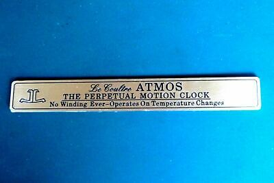 CLASSIC DESIGN JAEGER LE COULTRE ATMOS PERPETUAL MOTION CUSTOM PLAQUE FOR ATMOS