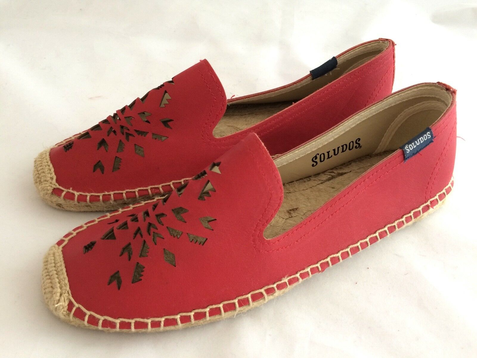 Women's Soludos Red Leather Espadrilles size 8