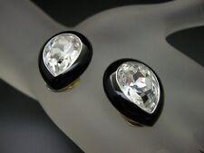 KJL Kenneth Jay Lane Sim Diamond HAPPY HOUR Enamel Clip Earrings Book Piece NEW