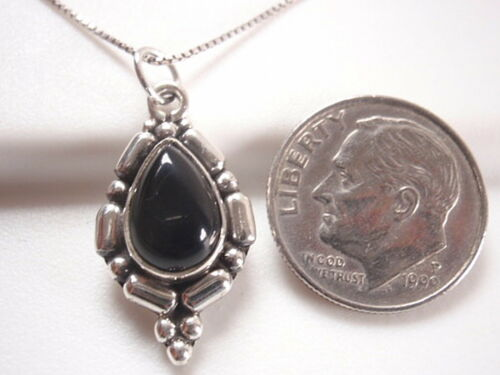 Noir Onyx avec titre en gras Accents 925 Pendentif En Argent Sterling
