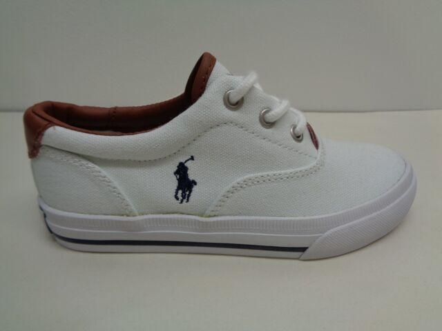 9fa14885b Polo Ralph Lauren Size 11.5 Vaughn II White Navy Canvas SNEAKERS Kids Shoes