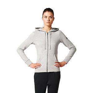 Adidas-Women-Hoodie-Training-Essentials-Linear-Full-Zip-Grey-Running-New-S97086