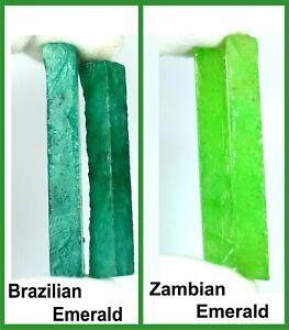 Zambian & Brazilian Emerald Facet Gemstone Slice Rough 240 Ct 4 Pcs Lot Natural