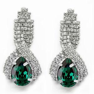 Details About Luxury Diamond Shine Rhinestone Emerald Green Long Drop Stud Earrings E860