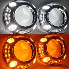 2pc Switchback Panamera Style Shrouds Halo, W/LED White DRL, Amber Turn Signal