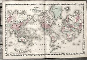 World Map Johnson large folio 1800\'s hand colored 26.5 x 18 ca ...