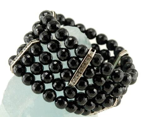 facettierter Onyx mit Zirkonia // 8982 Fünfreihiges Armband schwarz 8 mm