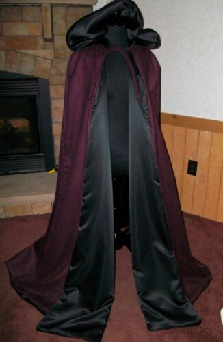 Suede Renaissance Medieval Hooded Vampire Cloak Cape Wicca THE WITCH/'S SPINDLE
