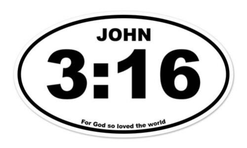 """John 3:16 Oval For God So Loved the World car bumper sticker decal 5/"""" x 3/"""""""