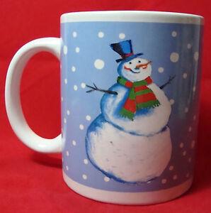 Snowman-Mug-100-Stoneware-Dishwasher-Microwave-Safe-3-3-4-034-H-X-3-1-4-034-Dia-977