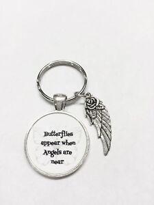 Butterflies Appear When Angels Are Near, Guardian Angel Wing, Memorial Keychain