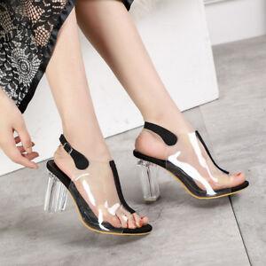 1e5f9f864977 Image is loading Fashion-Women-Clear-Block-High-Heel-Slingback-Sandals-