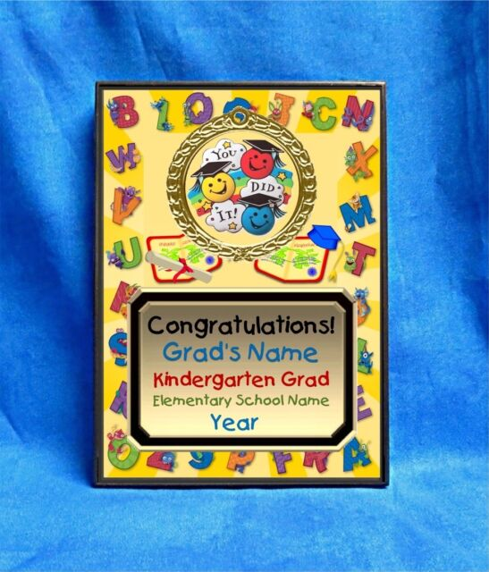 graduation kindergarten preschool custom personalized award plaque