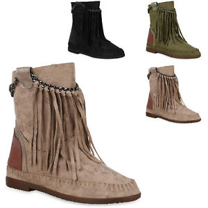 Damen-Stiefeletten-Mokassin-Boots-Wildleder-Optik-Stiefel-824724-Trendy-Neu