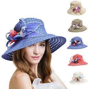 Womens Sinamay Kentucky Derby Flower Feather Wide Brim Summer Sun Hat T126