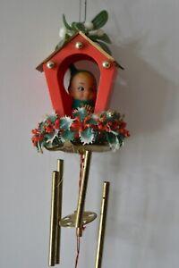Vintage Elf Pixie Christmas Tree Hanging Windchime With Harp Mistletoe Holly