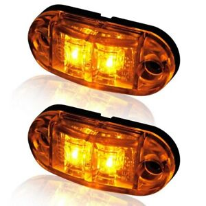 10Pcs-Amber-2-Led-Light-Oval-Clearance-Trailer-Car-Truck-Side-Marker-Tail-Lamp-L