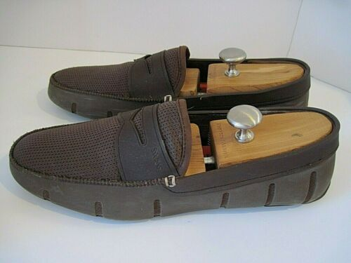 Swims Moc Toe Textured Penny Driving Loafers Brown