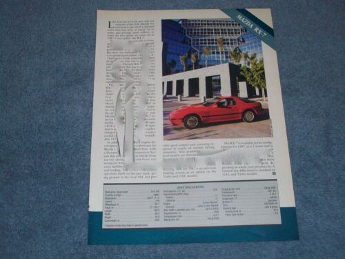 1987 Mazda RX7 Vintage Info & Specs Article