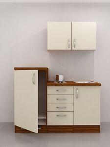 Küchenzeile 160 cm  Single Küche 160 cm Vanille ohne Kühlschrank mit Kochplatte - Sienna ...