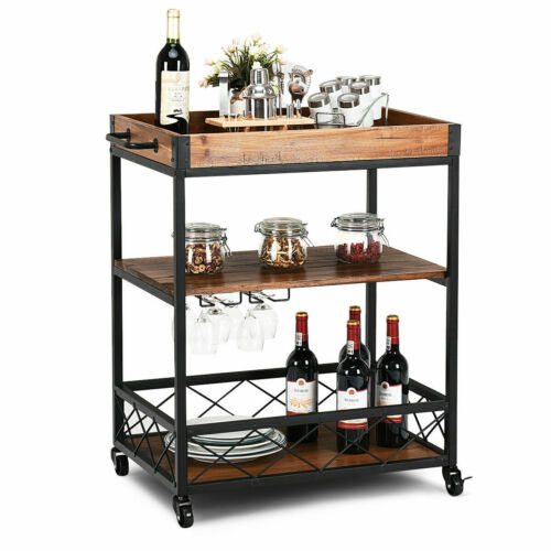 3 Tier Rolling Kitchen Trolley Cart Serving Dining Storage Shelf W/Removable Top