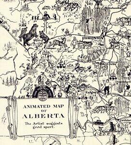 1931 Antique ALBERTA CANADA Picture Map Animated Map of Alberta