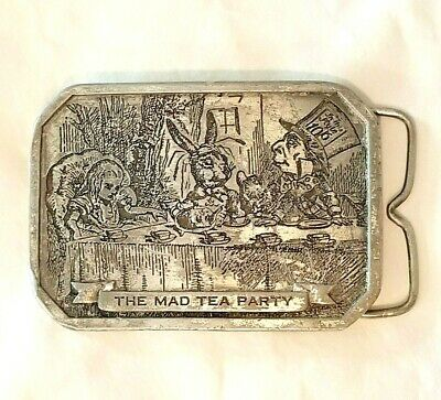 Alice In Wonderland Through The Looking Glass Book Art Artwork Lover Gift Collectible 1970s Vintage Belt Buckle